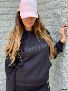 Hoodie Syndykat Black With Black Print
